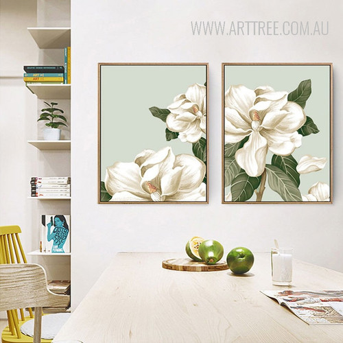 Rural Petal Magnolia Flowers Canvas Print Set