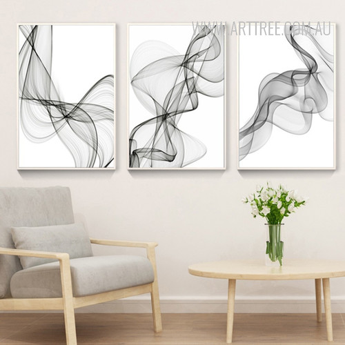 Black And White Abstract Lines Pattern Canvas Prints