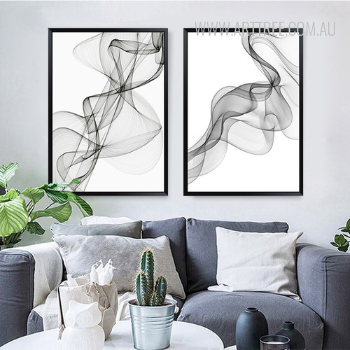 Black And White Abstract Wavy Lines Pattern Canvas Prints