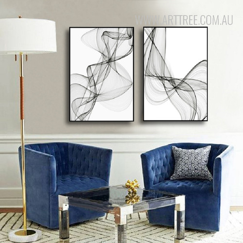 Black And White Abstract Lines Vector Canvas Prints