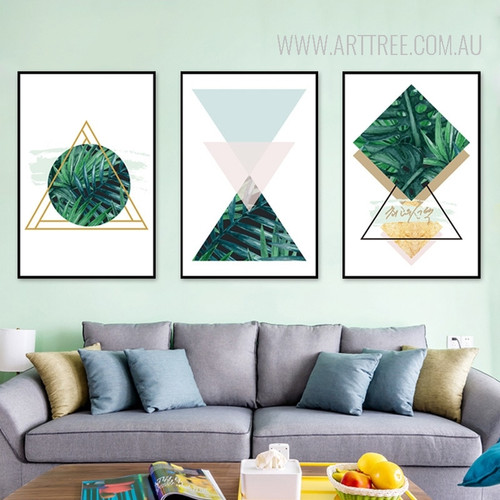 Abstract Refreshing Green Leaves Triangles Geometric Art