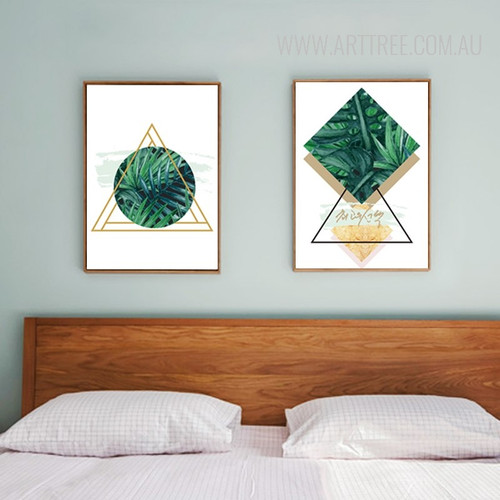 Abstract Green Leaves Triangles Circles Geometric Canvas Art