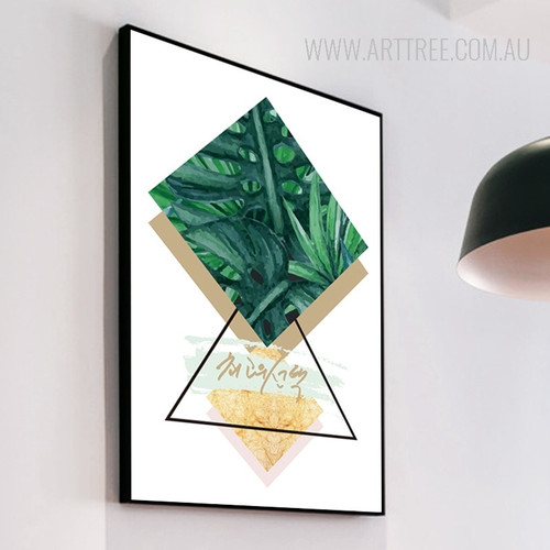 Modern Refreshing Green Leaves Triangle Geometric Canvas Art
