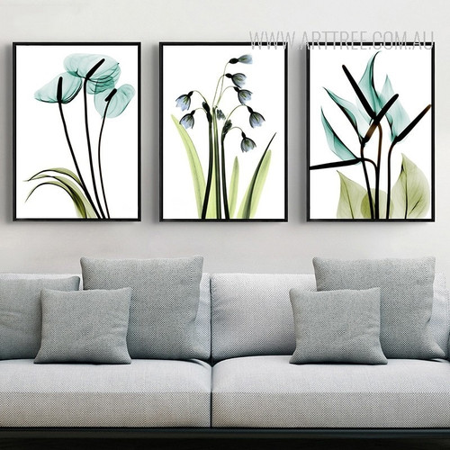 Transparent Bird of Paradise Common Bluebell Arum Lily Floral Wall Art