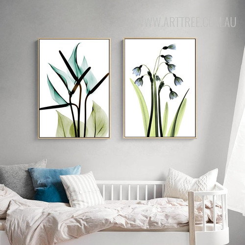 Transparent Bird of Paradise Common Bluebell Floral Wall Art