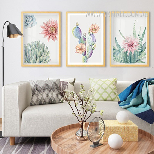 Refreshing Pink Blue Peony Cactus Floral Canvas Art