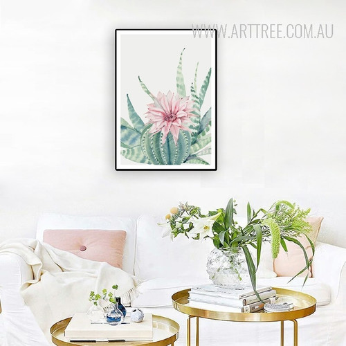 Refreshing Pink Peony Cactus Flower Plants Wall Art Print