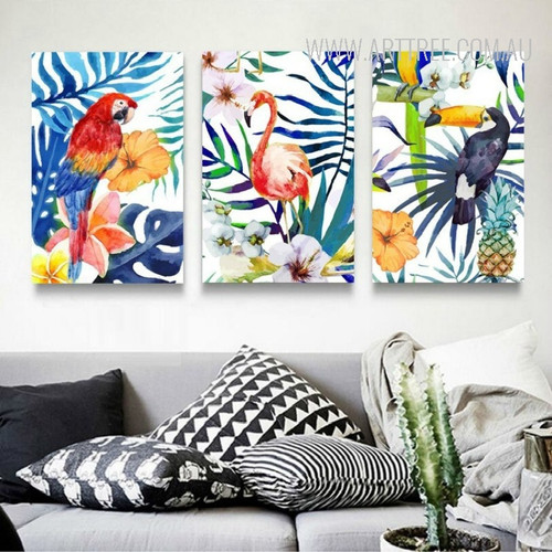 Colorful Leaves Flowers Flamingo Parrot Toucan Birds Art