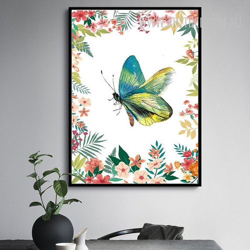 Beautiful Blue Green Butterfly Leaves and Flowers Wall Art