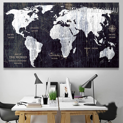 World Map Black and White Art