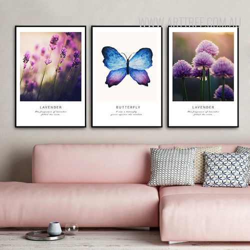 Purple Lavender Flower and Butterfly 3 Piece Canvas Prints