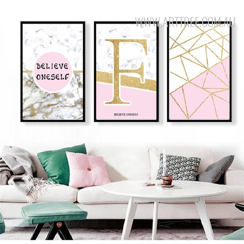 Believe Oneself Golden Letter Geometric Triangles Wall Art