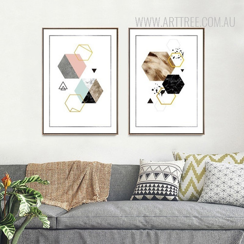 Geometric Pattern Colorful Hexagons Abstract Art