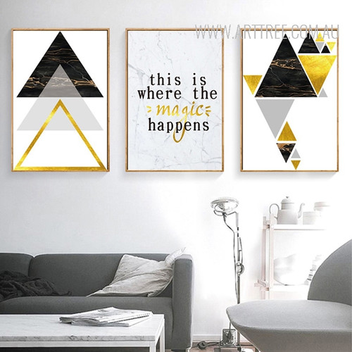 Black Golden Geometric Triangles This Is Where The Magic Happens Words Art