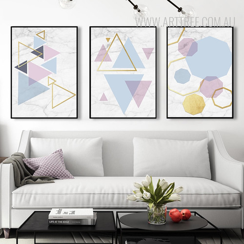 Colorful Triangles Hexagons Modern Abstract Geometric Art