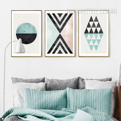 Vintage Geometric Pattern Triangles Circle Wall Art Set