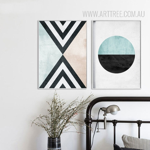 Vintage Geometric Pattern Triangles Circle Canvas Prints Set