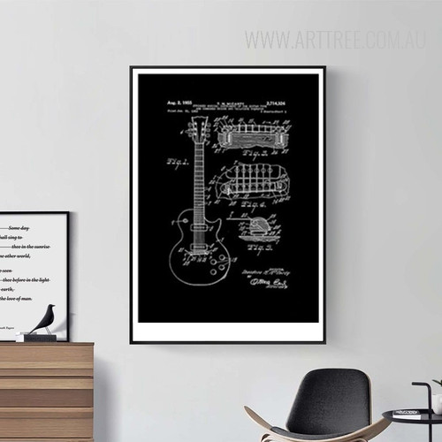 Black and White Drawings Guitar Design Canvas Print