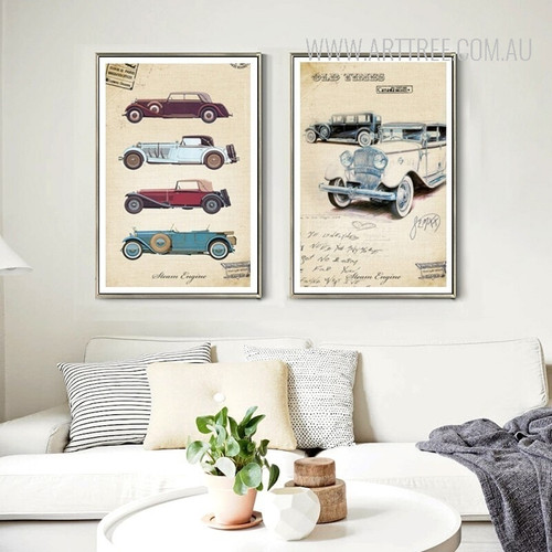 Vintage Cars Collection Digital Canvas Prints