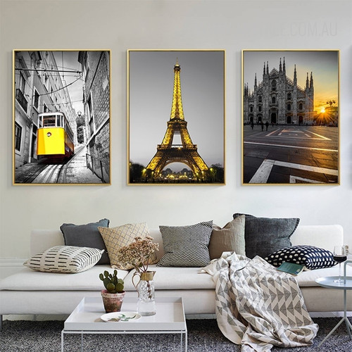 Yellow Tram Eiffel Tower Milan Cathedral Church Vintage Poster Prints