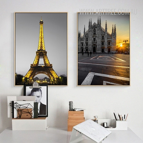 Yellow Light Paris Eiffel Tower Milan Cathedral Church Vintage Poster Prints