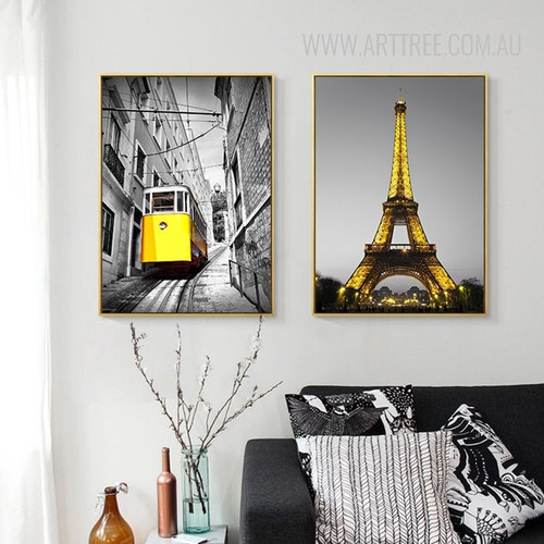 Yellow Tram Paris Eiffel Tower Vintage Poster Prints