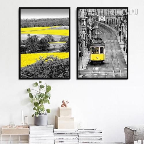 Yellow Tram Landscape Vintage Poster Prints