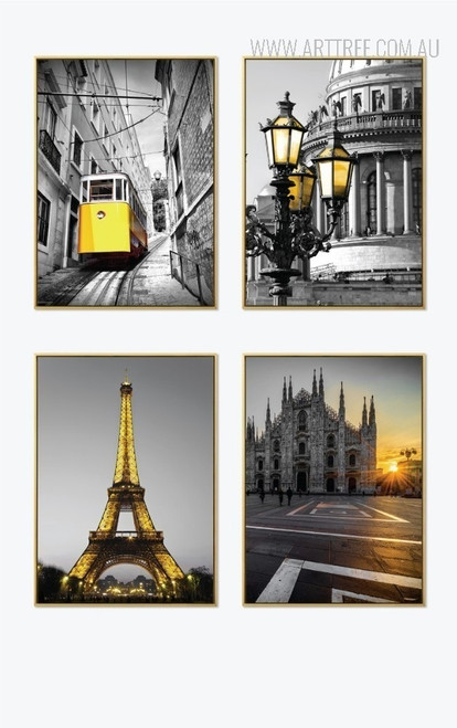 Yellow Tram Eiffel Tower Milan Cathedral Saint Issac Vintage Poster Prints