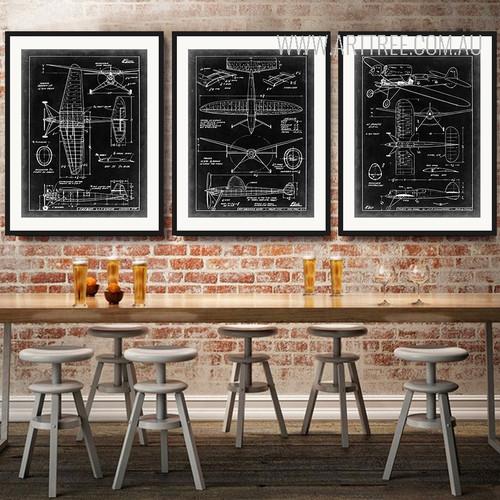 Vintage Black and White Fighter Jet Diagram Canvas Prints