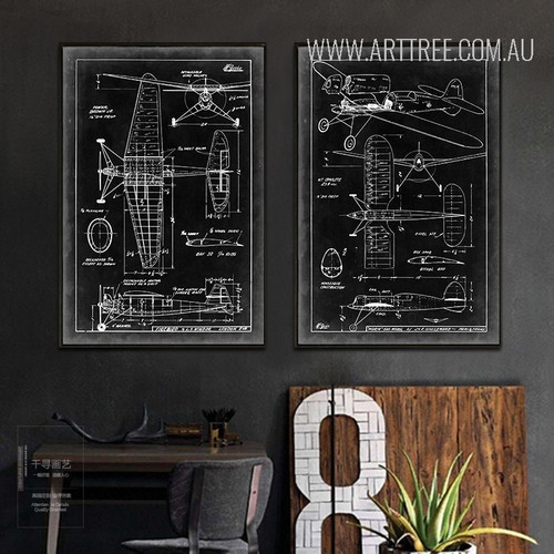 Vintage Black and White Fighter Jet Diagram 2 Piece Canvas Prints
