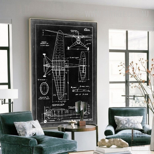 Vintage Black and White Fighter Plane Diagram Canvas Print