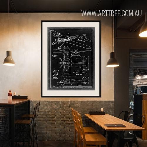 Vintage Black and White Fighter Jet Plane Diagram Canvas Print
