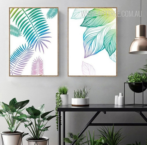 Watercolor Fresh Leaf Canvas Painting Prints