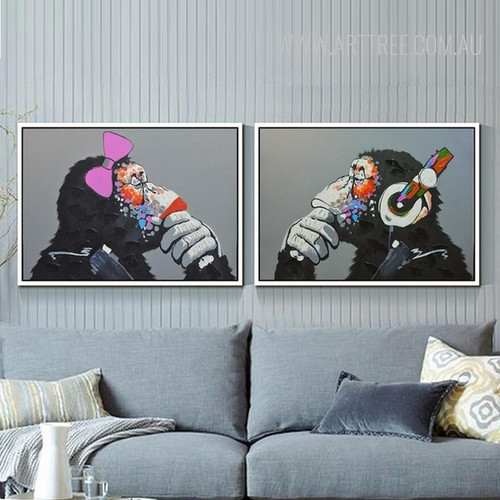 Cool Orangutan Animal 2 Piece Wall Art