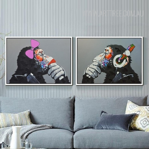 Cool Orangutan Animal 2 Piece Wall Art