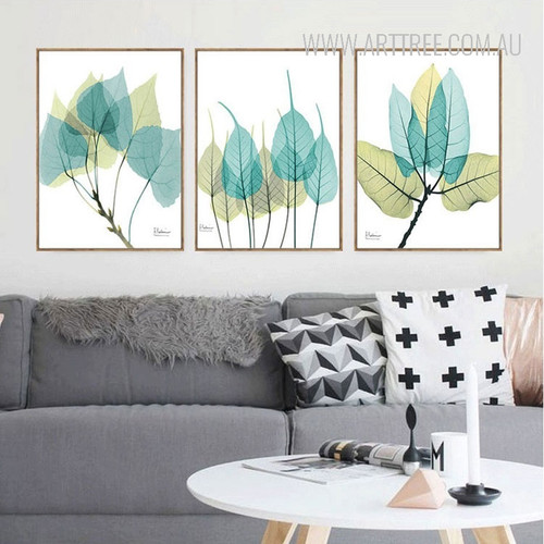 Blue Green Leaf 3 Piece Canvas Prints