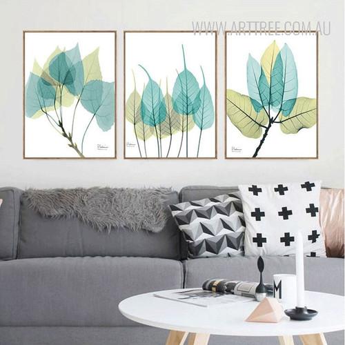 Blue Green Leaf 3 Piece Canvas Prints
