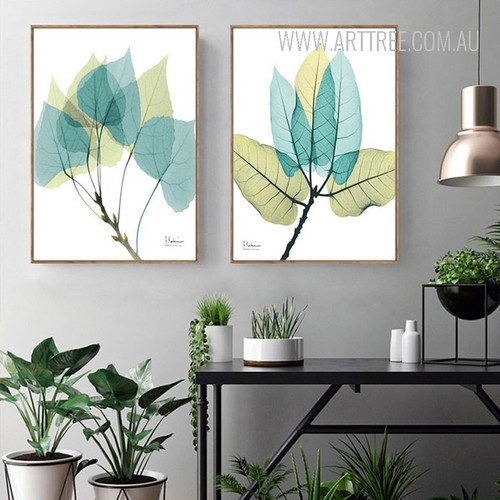 Beautiful Blue Green Leaves Rolled Canvas Prints