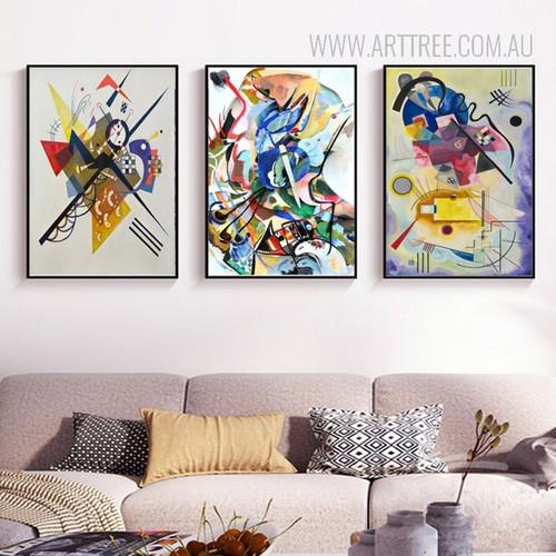 On White II Jaune Rouge Bleu Bigarrure Dans Le Triangle Digital Paintings