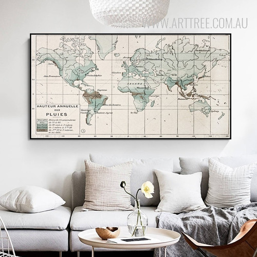 Vintage World Map Typography Canvas Print