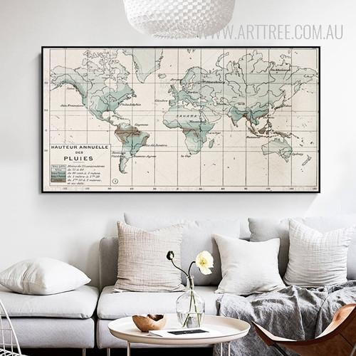Vintage World Map Typography Canvas Print