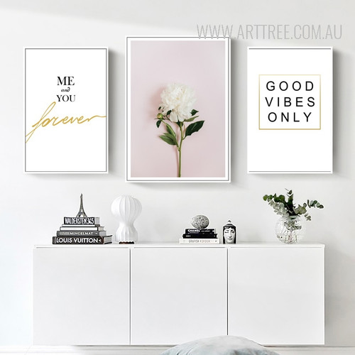 Me and You Forever Good Vibes White Flower Canvas Prints