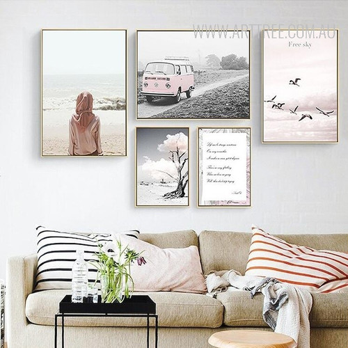Free Sky Flying Birds Tree in Desert Vintage Van Girl Canvas Prints