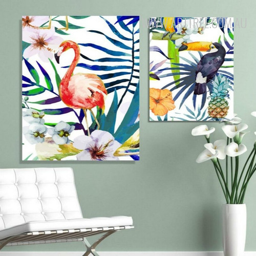 Colorful Leaves Flowers Flamingo Toucan Bird Art