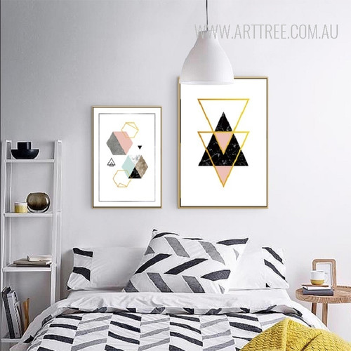 Geometric Pattern Golden Triangle Hexagon Canvas Prints