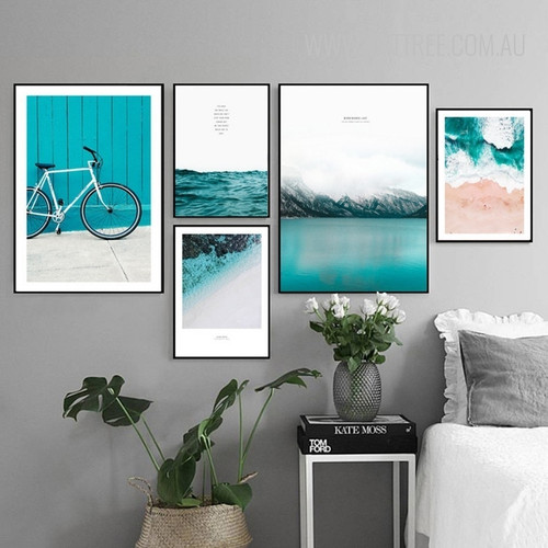 Blue Seascape Water Mountain Bicycle Canvas Wall Art Set