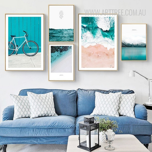 Blue Seascape Water Mountain Bicycle 3 Piece Canvas Prints