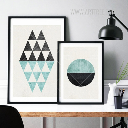 Geometric Pattern Blue Black Triangles and Circle Art