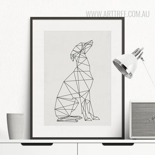 Black and White Minimal Dog Animal Art