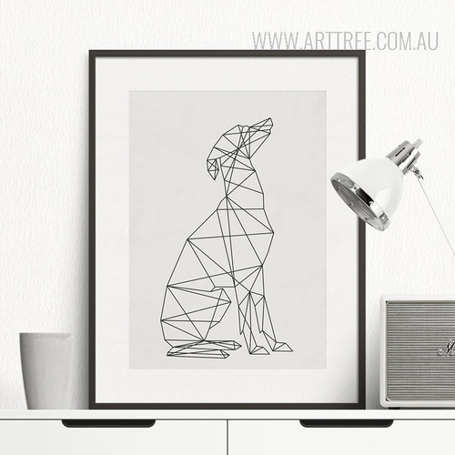 Black and White Minimal Dog Animal Art